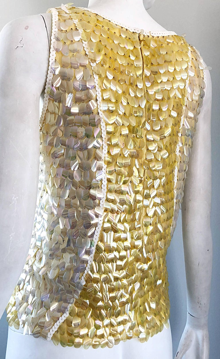 1960s Yellow + White + Clear Paillettes Sequined Lamb's Wool Sleeveless 60s Top For Sale 5