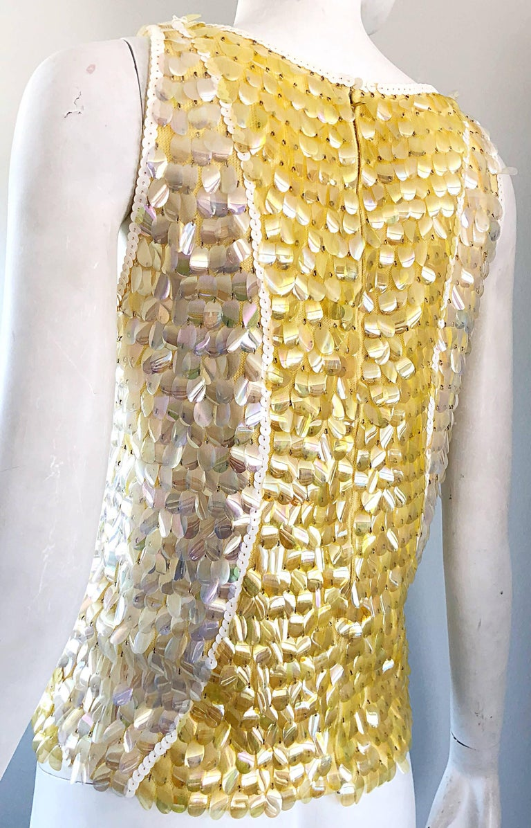 1960s Yellow + White + Clear Paillettes Sequined Lamb's Wool Sleeveless 60s Top For Sale 6