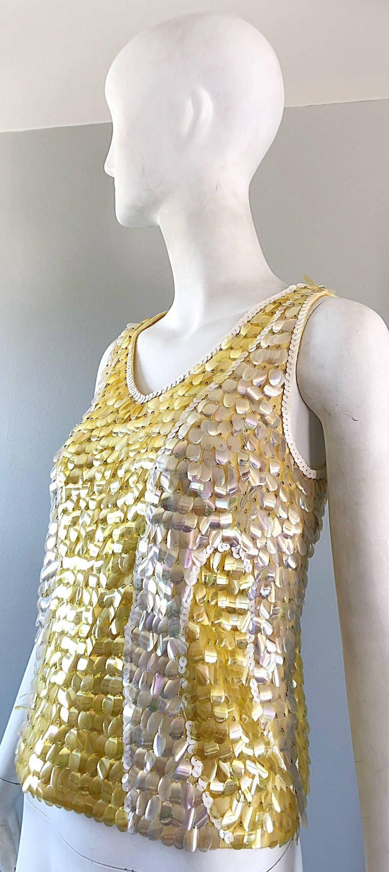 1960s Yellow + White + Clear Paillettes Sequined Lamb's Wool Sleeveless 60s Top For Sale 7