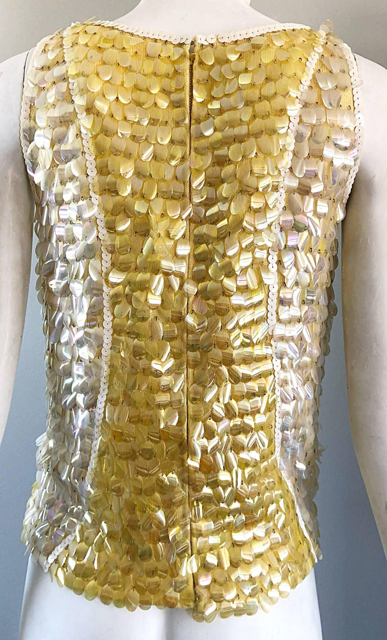 1960s Yellow + White + Clear Paillettes Sequined Lamb's Wool Sleeveless 60s Top For Sale 8