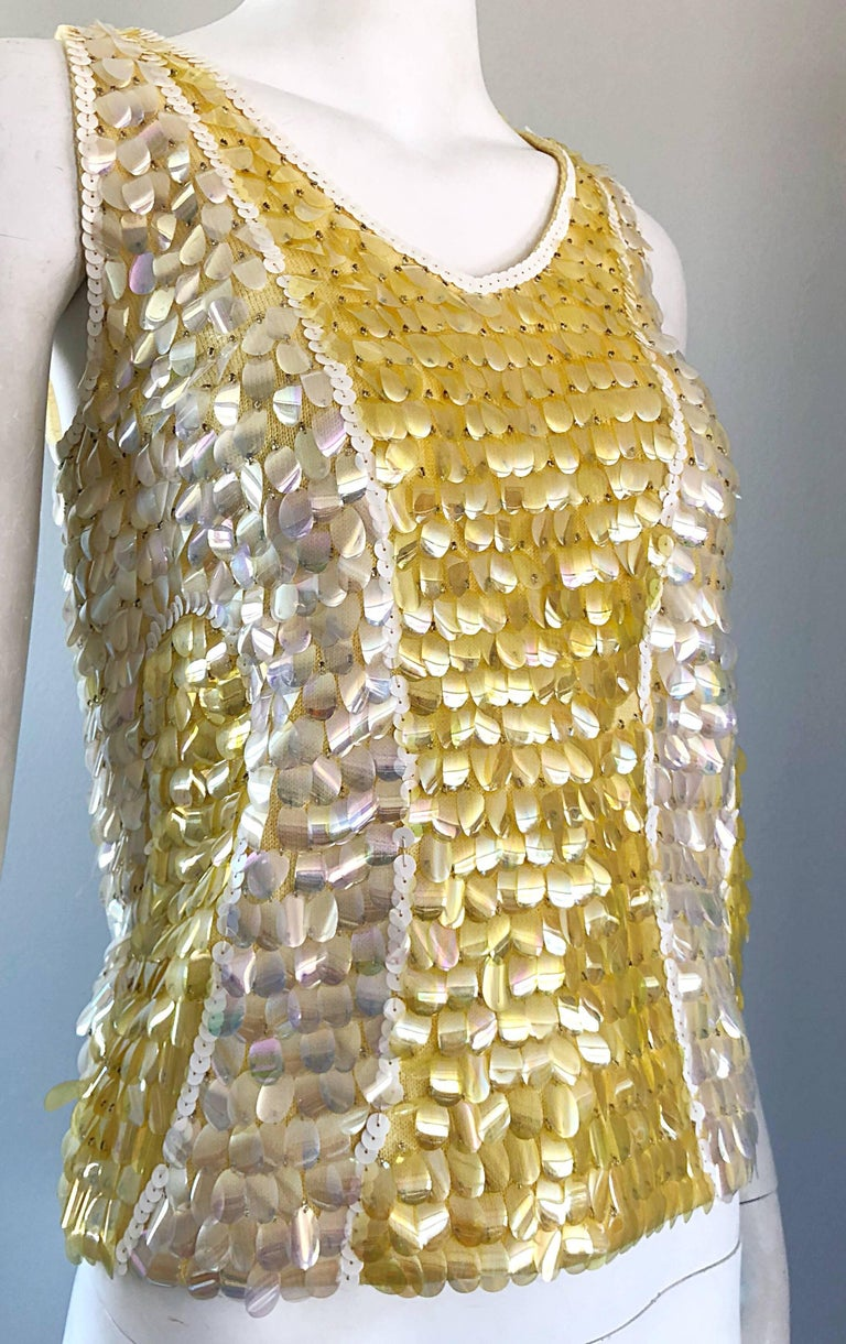 1960s Yellow + White + Clear Paillettes Sequined Lamb's Wool Sleeveless 60s Top For Sale 9