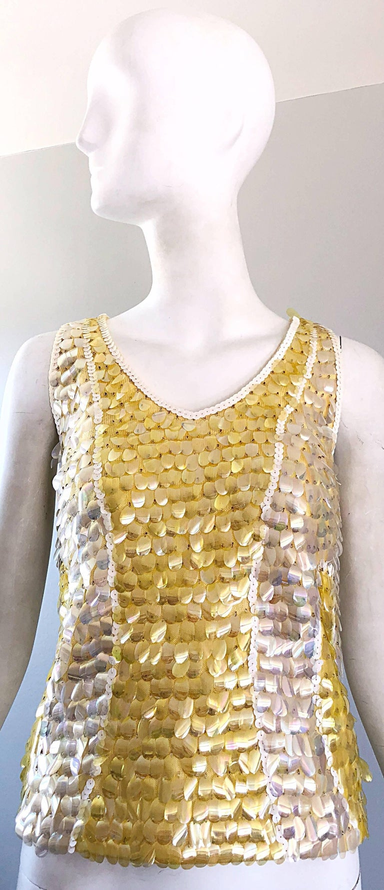 1960s Yellow + White + Clear Paillettes Sequined Lamb's Wool Sleeveless 60s Top For Sale 10