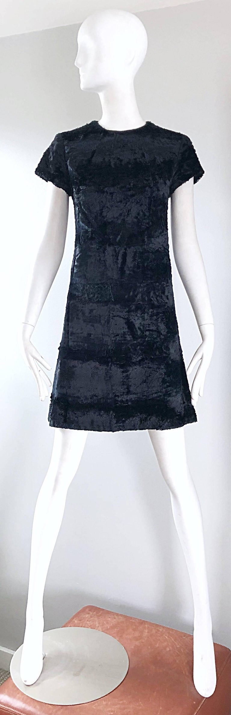 Chic 1960s SAKS FIFTH AVE. black faux fur mod A-Line / shift dress! This is not just your average little black dress, and I have never seen one like this before! Super soft faux fur fabric feels amazing against the skin. Fitted bodice with a
