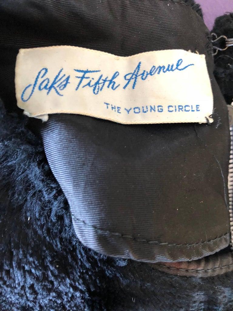 Chic 1960s Saks 5th Avenue Faux Fur Black Shift A - Line Mod Vintage 60s Dress For Sale 12
