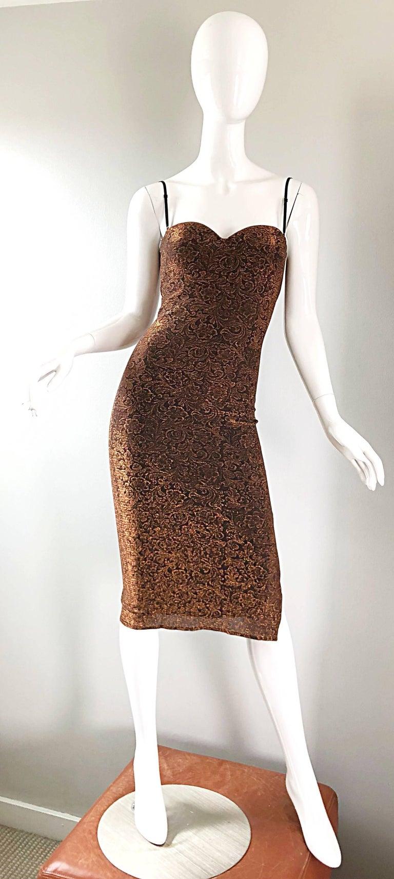 Brown 1990s Eletra Casadei Sexy Metallic Bronze / Gold Bodycon Convertible Strap Dress For Sale