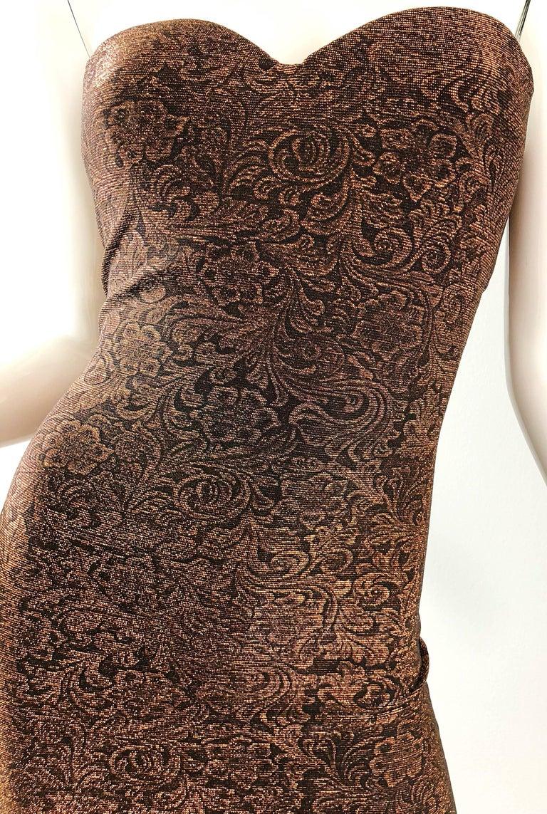 Women's 1990s Eletra Casadei Sexy Metallic Bronze / Gold Bodycon Convertible Strap Dress For Sale