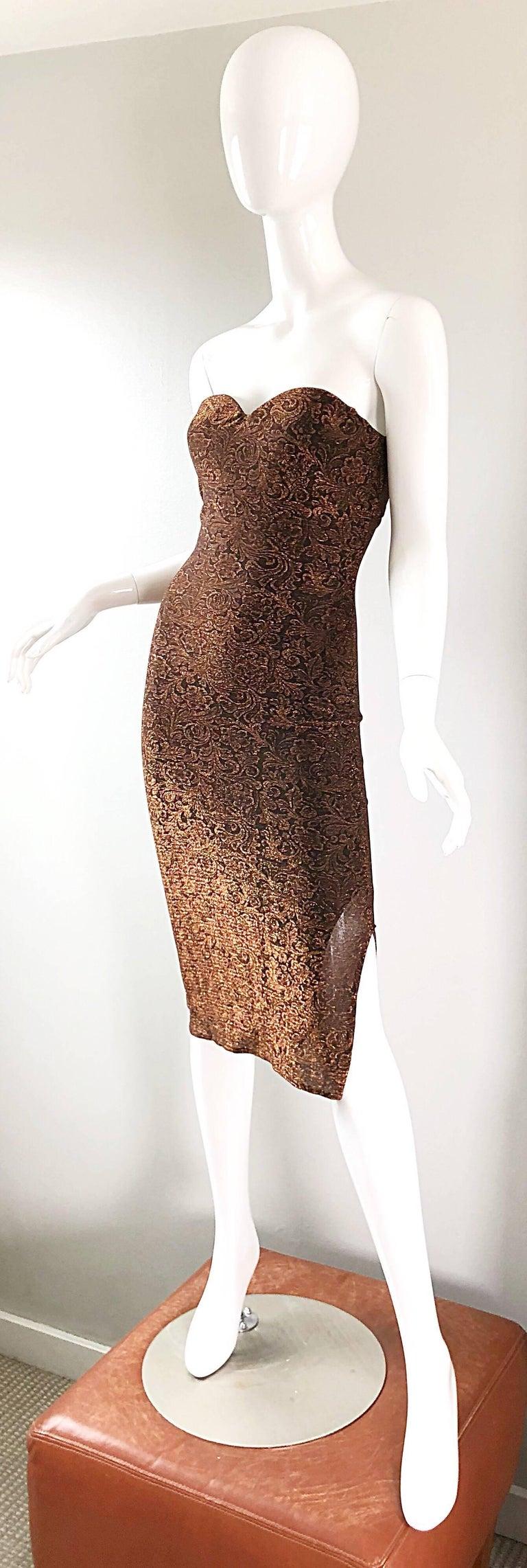 1990s Eletra Casadei Sexy Metallic Bronze / Gold Bodycon Convertible Strap Dress For Sale 1