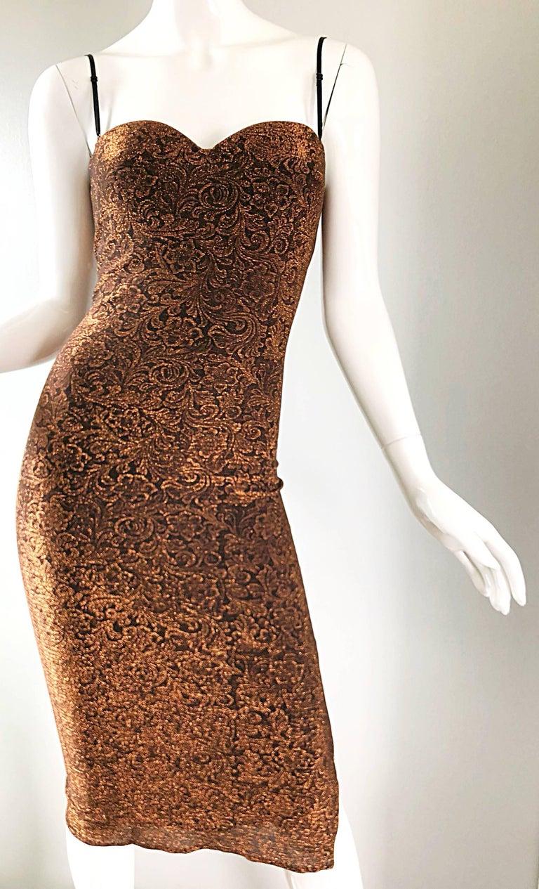 1990s Eletra Casadei Sexy Metallic Bronze / Gold Bodycon Convertible Strap Dress For Sale 2