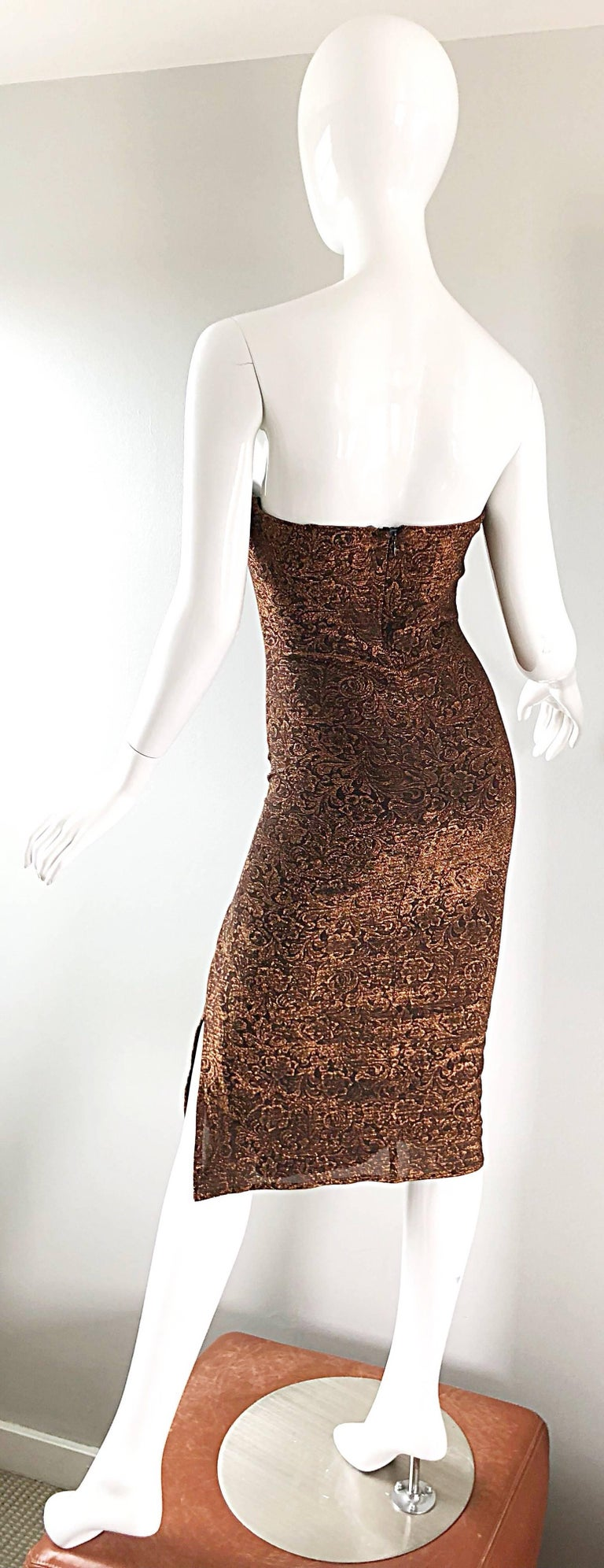 1990s Eletra Casadei Sexy Metallic Bronze / Gold Bodycon Convertible Strap Dress For Sale 3