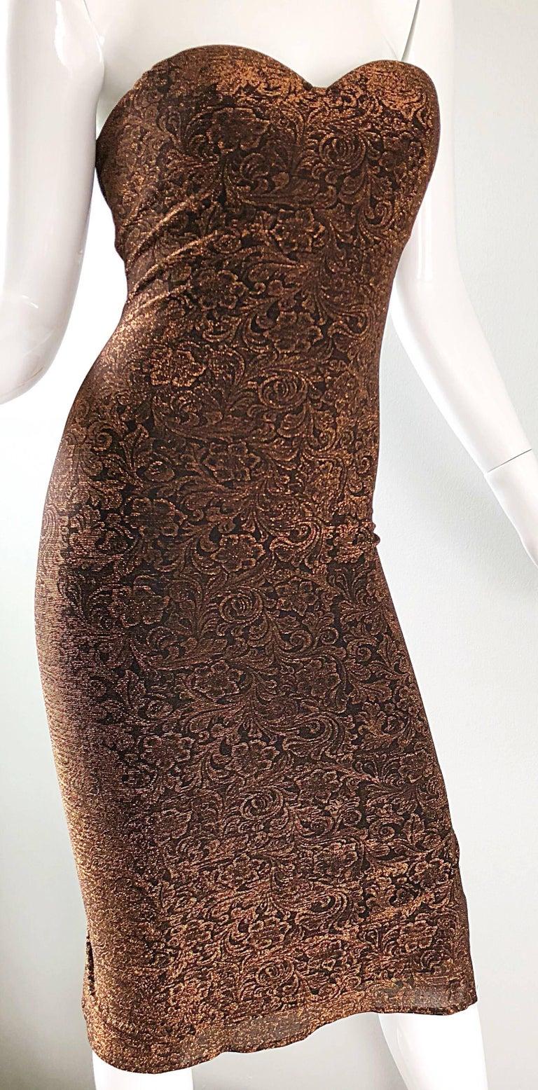 1990s Eletra Casadei Sexy Metallic Bronze / Gold Bodycon Convertible Strap Dress For Sale 4