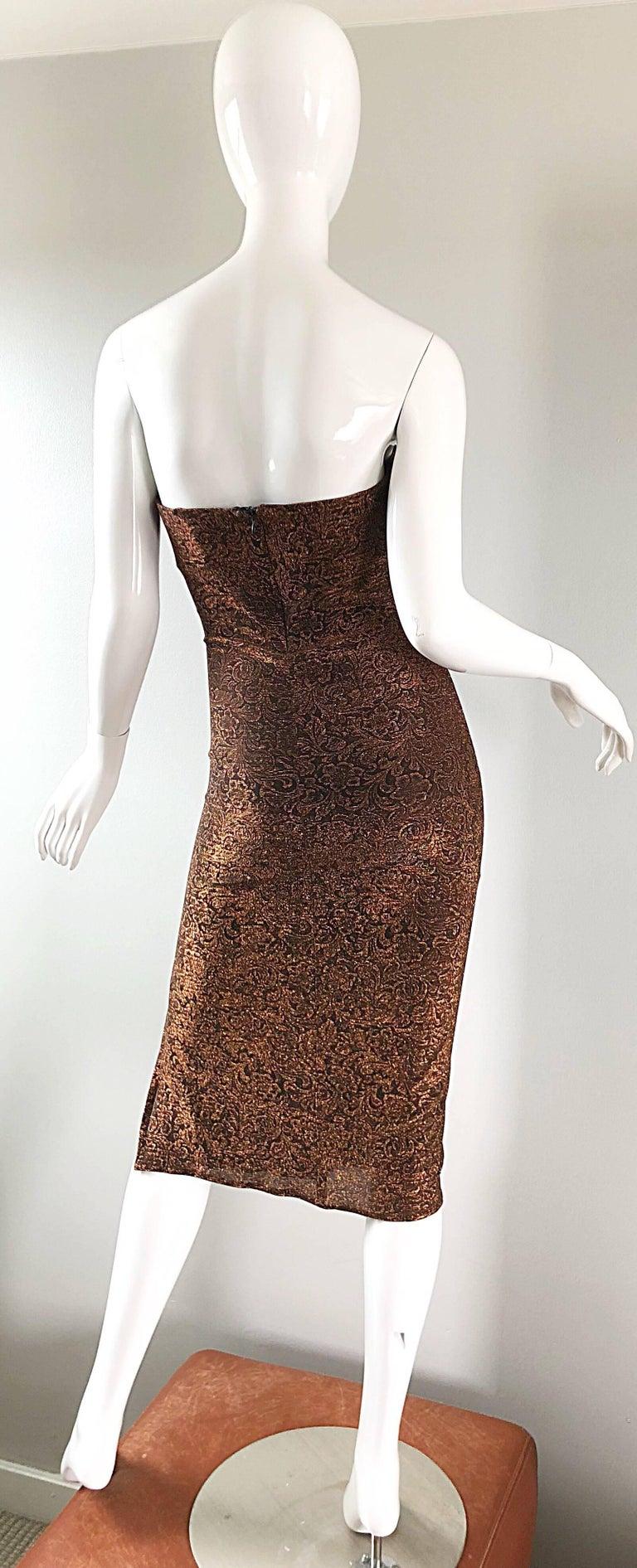 1990s Eletra Casadei Sexy Metallic Bronze / Gold Bodycon Convertible Strap Dress For Sale 5