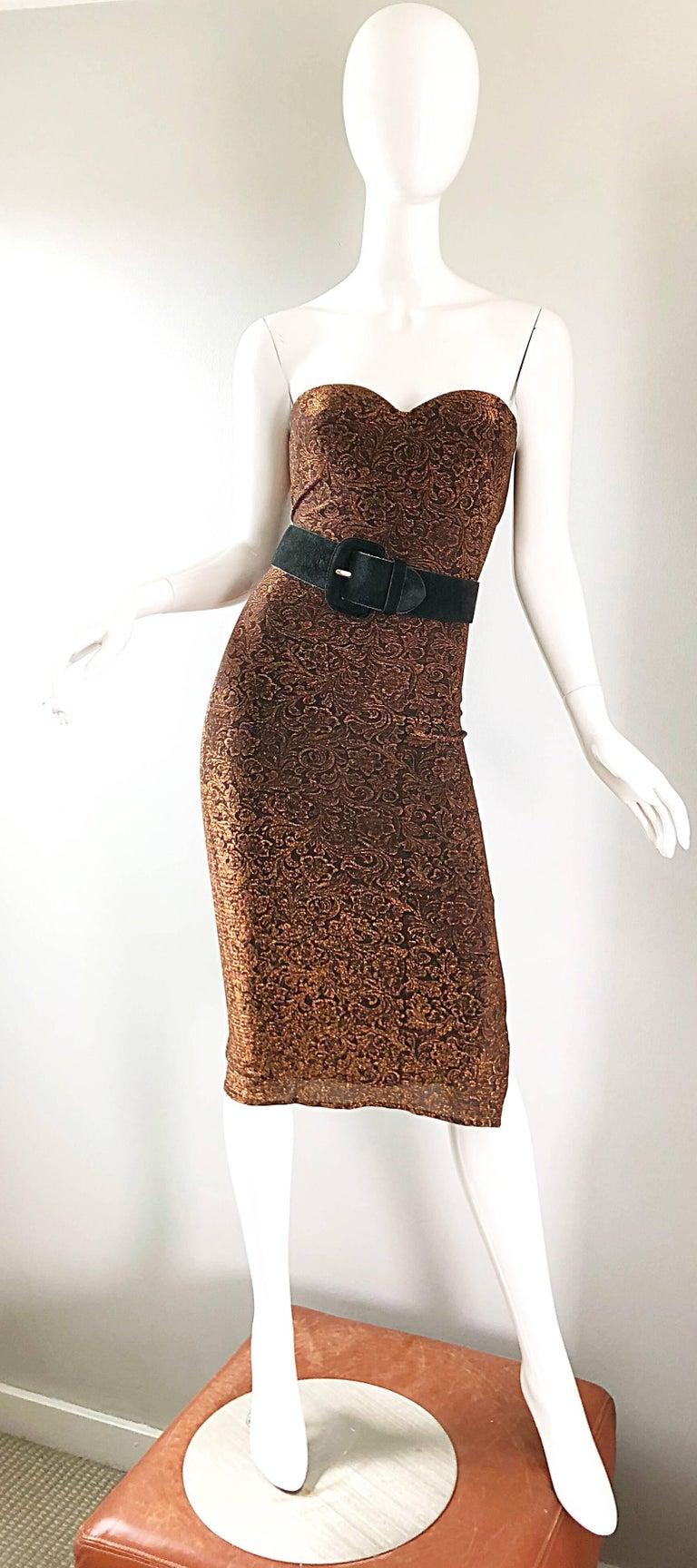 1990s Eletra Casadei Sexy Metallic Bronze / Gold Bodycon Convertible Strap Dress For Sale 7