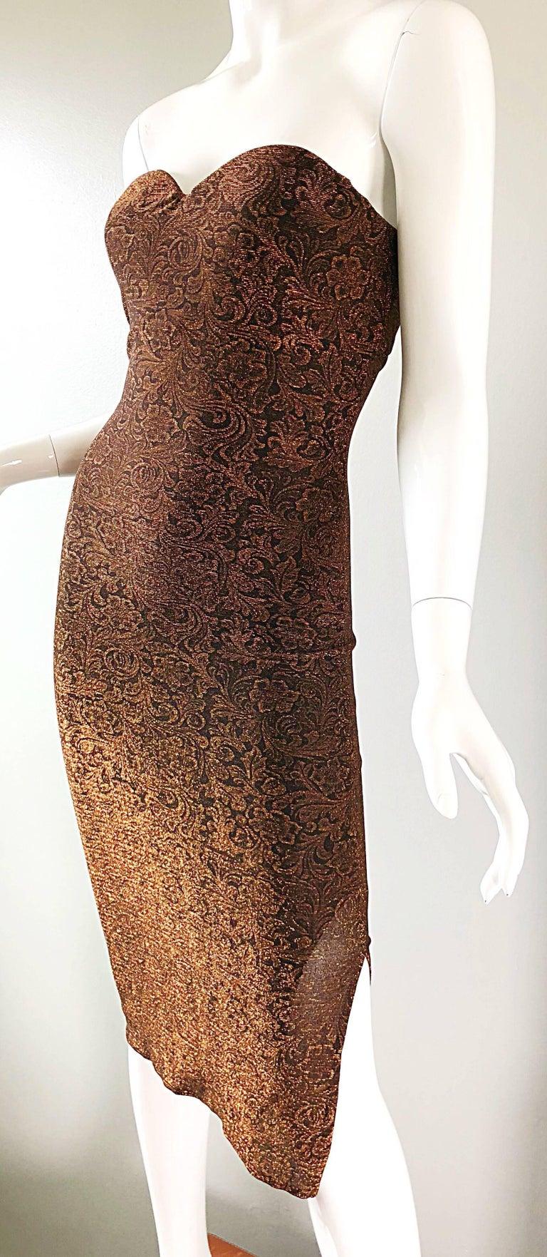 1990s Eletra Casadei Sexy Metallic Bronze / Gold Bodycon Convertible Strap Dress For Sale 8