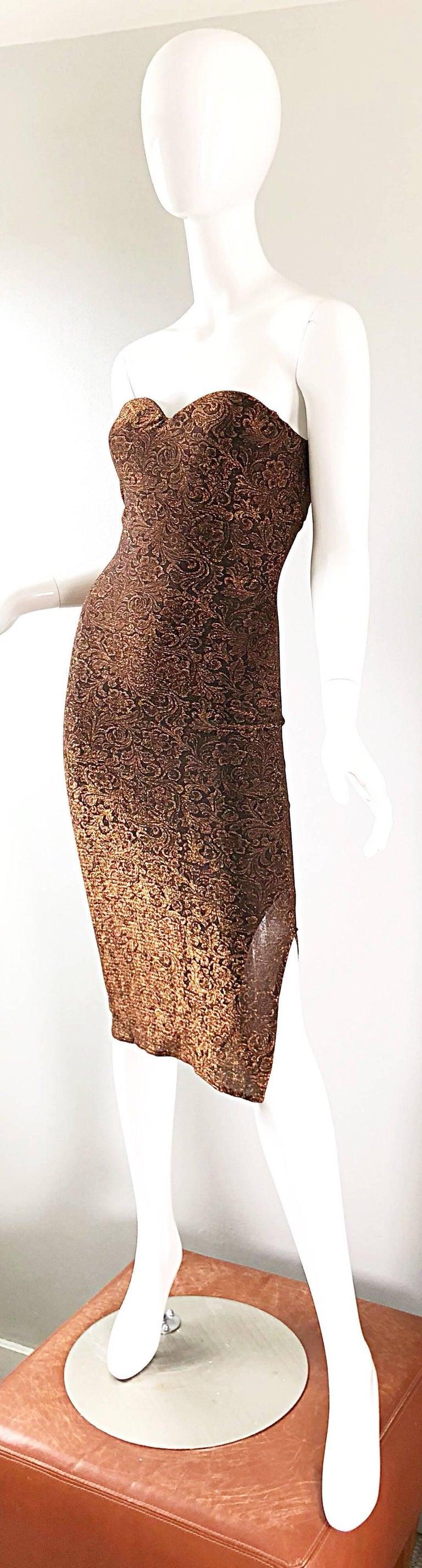 1990s Eletra Casadei Sexy Metallic Bronze / Gold Bodycon Convertible Strap Dress For Sale 9