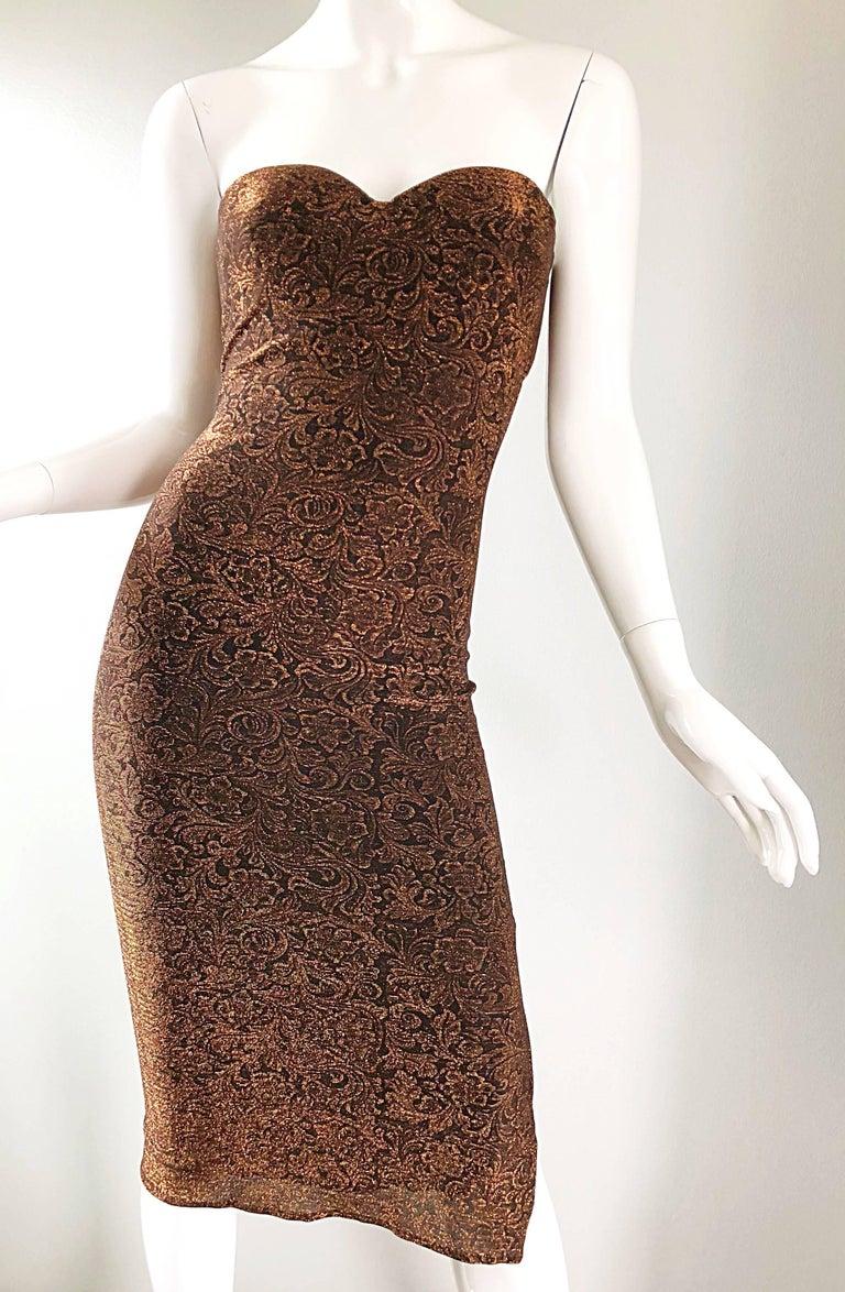 1990s Eletra Casadei Sexy Metallic Bronze / Gold Bodycon Convertible Strap Dress For Sale 10
