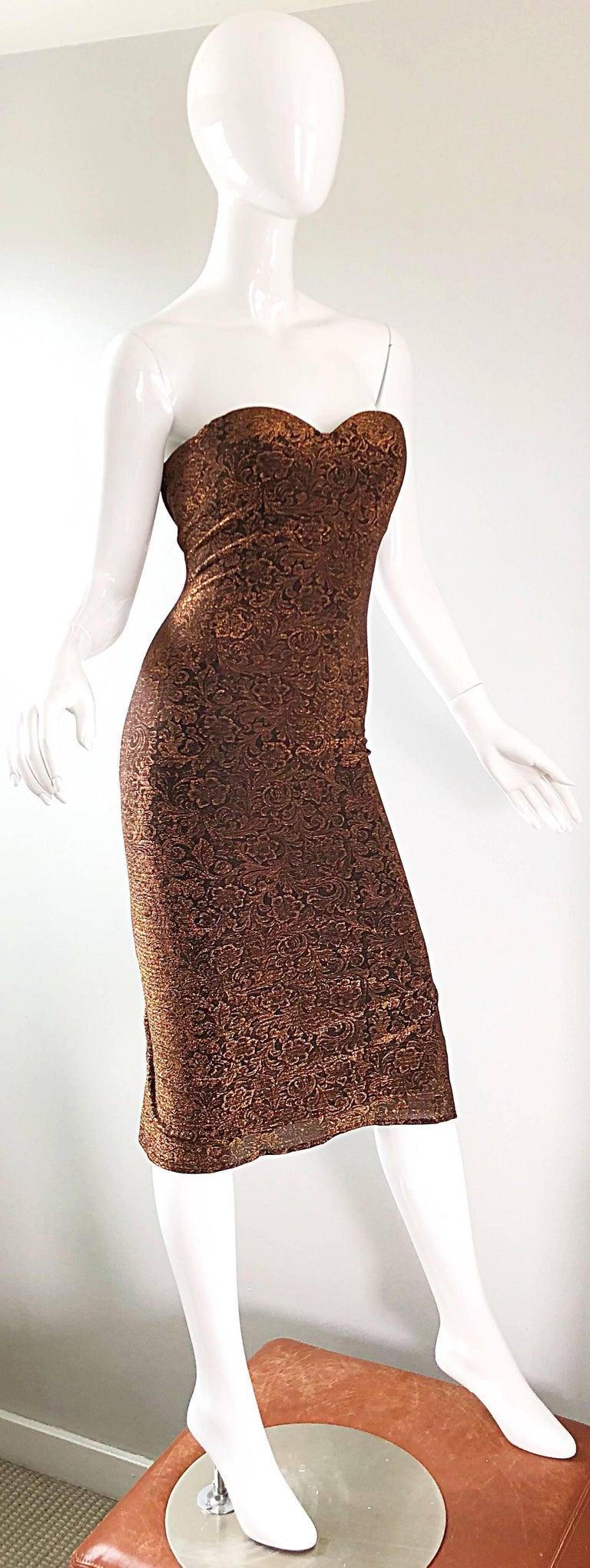 1990s Eletra Casadei Sexy Metallic Bronze / Gold Bodycon Convertible Strap Dress For Sale 11