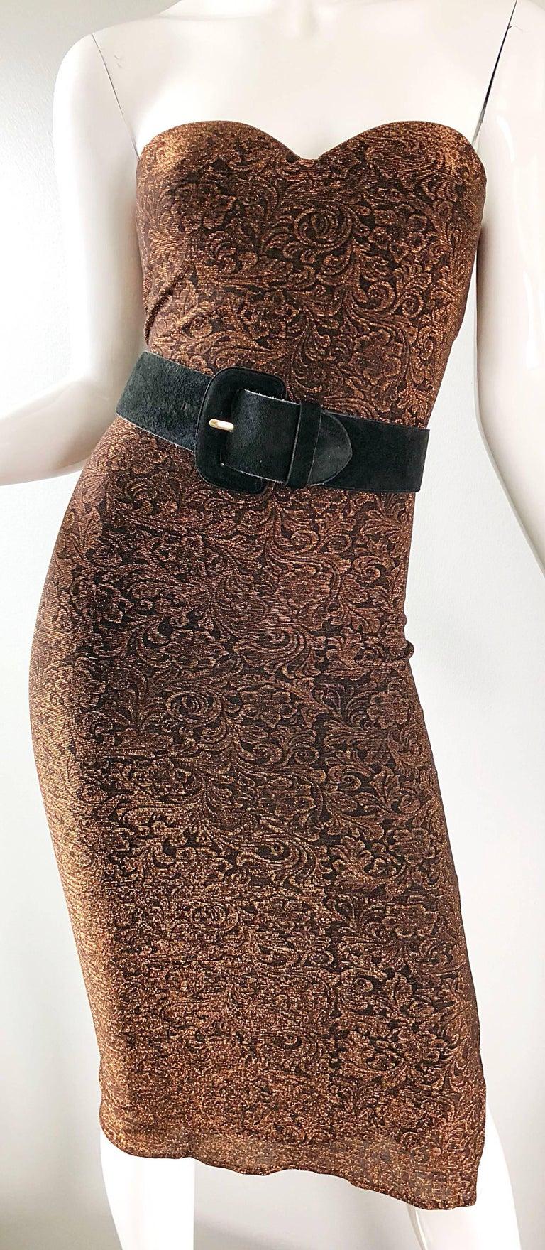 1990s Eletra Casadei Sexy Metallic Bronze / Gold Bodycon Convertible Strap Dress For Sale 12