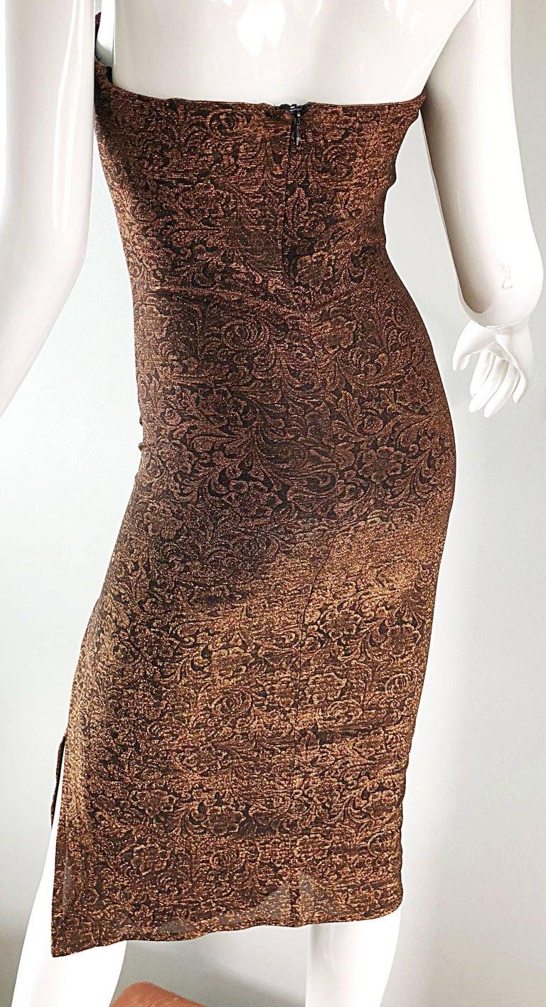 1990s Eletra Casadei Sexy Metallic Bronze / Gold Bodycon Convertible Strap Dress For Sale 13