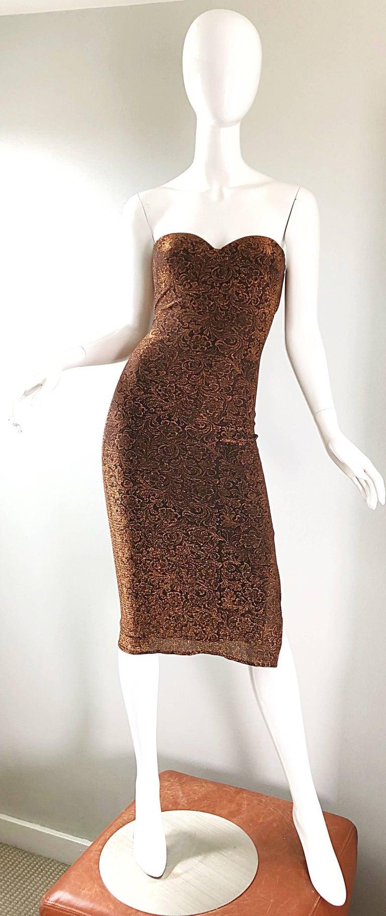 1990s Eletra Casadei Sexy Metallic Bronze / Gold Bodycon Convertible Strap Dress For Sale 14