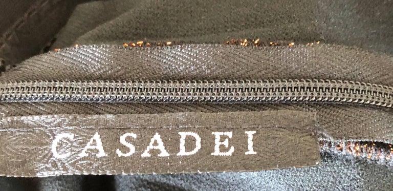 1990s Eletra Casadei Sexy Metallic Bronze / Gold Bodycon Convertible Strap Dress For Sale 15