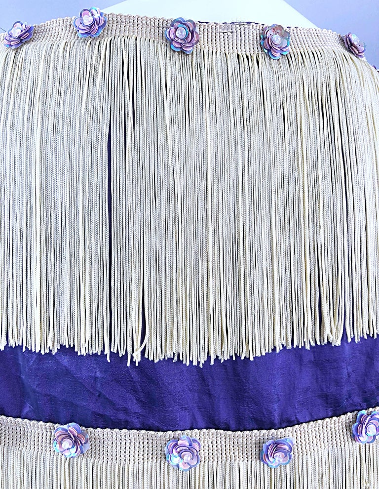 White Beautiful 1950s Purple + Ivory Large Fringed vintage 50s Sequin Shawl Scarf For Sale