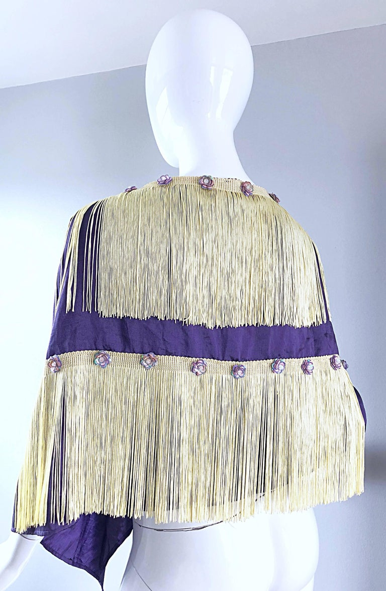 Women's Beautiful 1950s Purple + Ivory Large Fringed vintage 50s Sequin Shawl Scarf For Sale