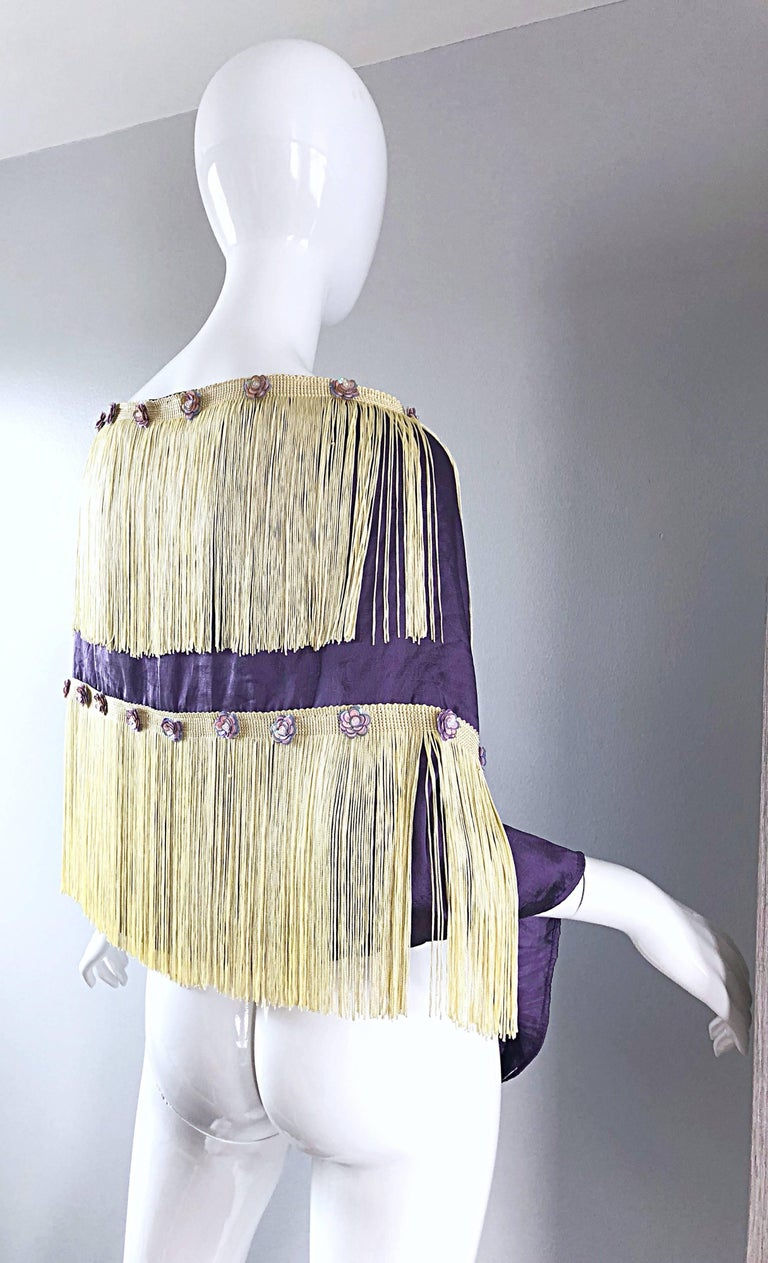 Beautiful 1950s Purple + Ivory Large Fringed vintage 50s Sequin Shawl Scarf For Sale 1