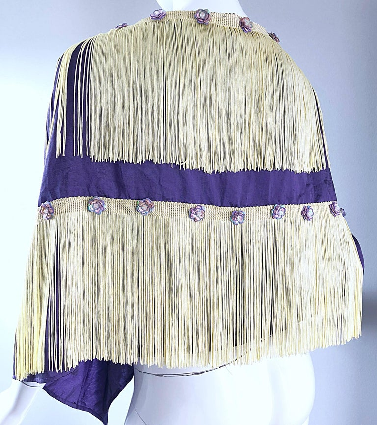 Beautiful 1950s Purple + Ivory Large Fringed vintage 50s Sequin Shawl Scarf For Sale 3