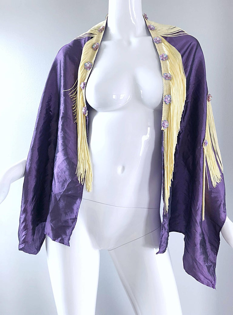 Beautiful 1950s Purple + Ivory Large Fringed vintage 50s Sequin Shawl Scarf For Sale 4
