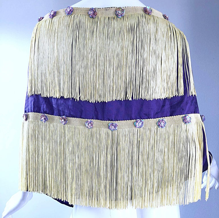 Beautiful 1950s Purple + Ivory Large Fringed vintage 50s Sequin Shawl Scarf For Sale 6