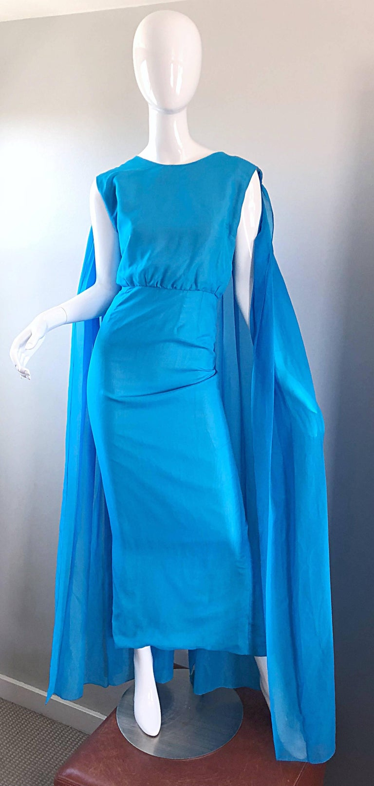 Incredible 1960s Turquoise Blue Chiffon Rhinestone Encrusted Vintage Cape Gown In Excellent Condition For Sale In Chicago, IL