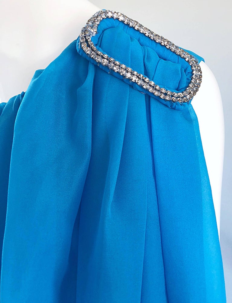 Women's Incredible 1960s Turquoise Blue Chiffon Rhinestone Encrusted Vintage Cape Gown For Sale
