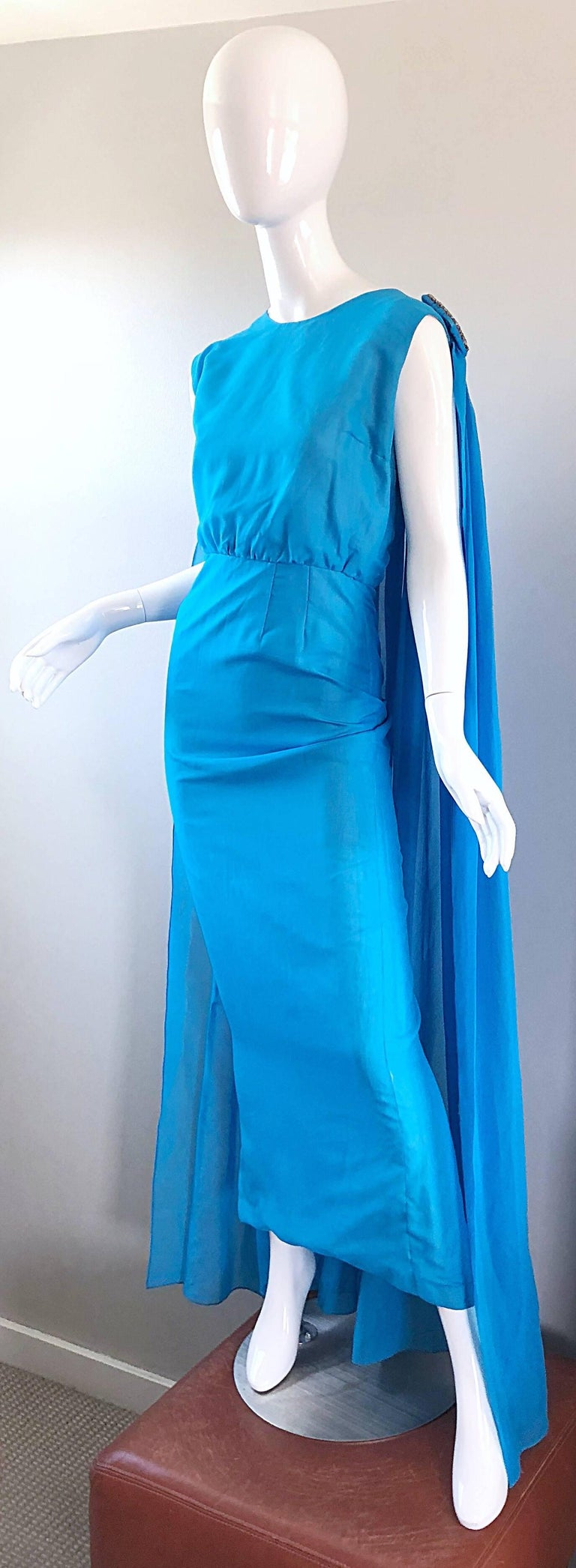 Incredible 1960s Turquoise Blue Chiffon Rhinestone Encrusted Vintage Cape Gown For Sale 1