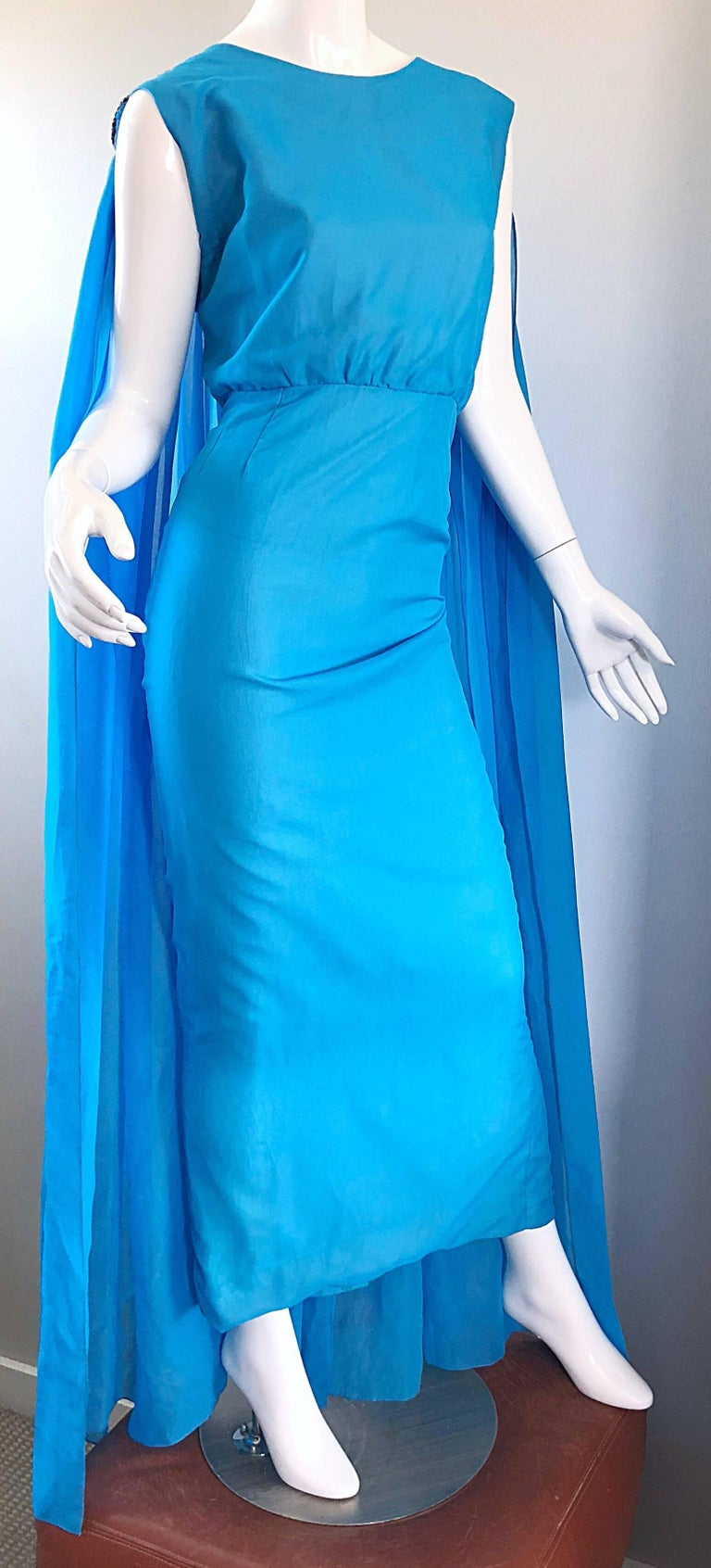 Incredible 1960s Turquoise Blue Chiffon Rhinestone Encrusted Vintage Cape Gown For Sale 2