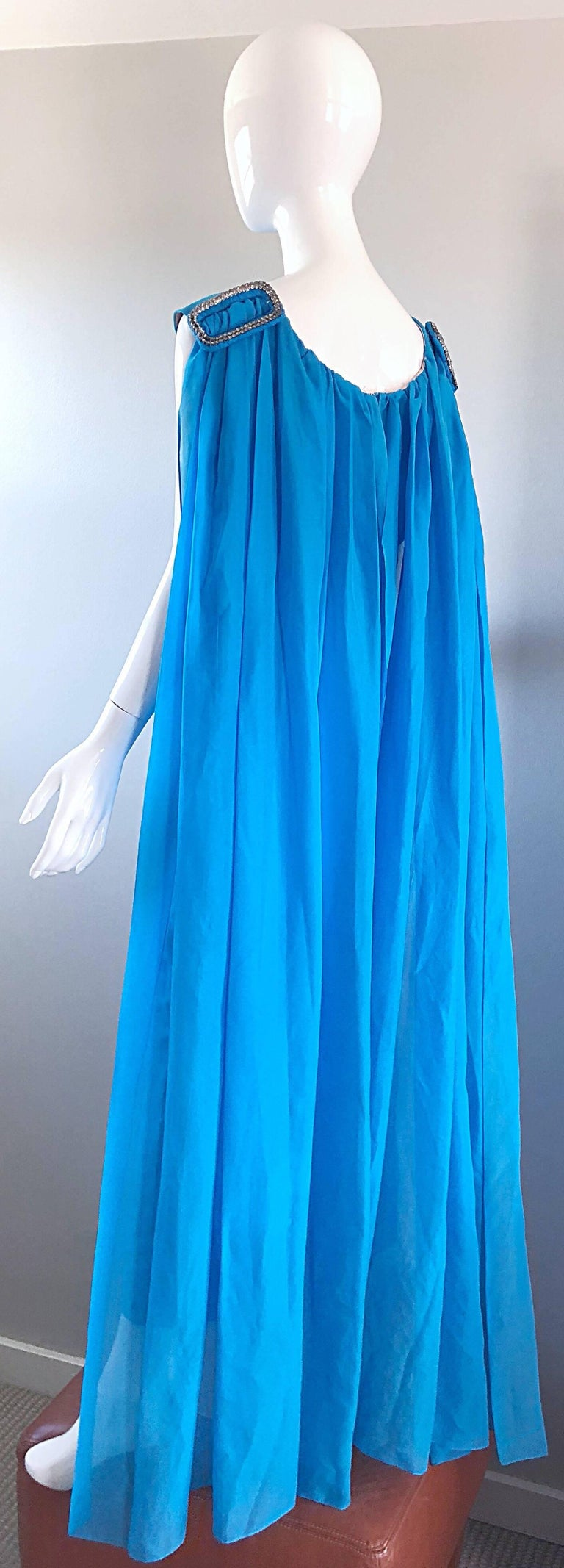 Incredible 1960s Turquoise Blue Chiffon Rhinestone Encrusted Vintage Cape Gown For Sale 3