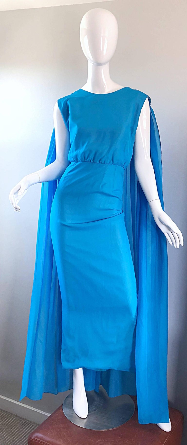 Incredible 1960s Turquoise Blue Chiffon Rhinestone Encrusted Vintage Cape Gown For Sale 4