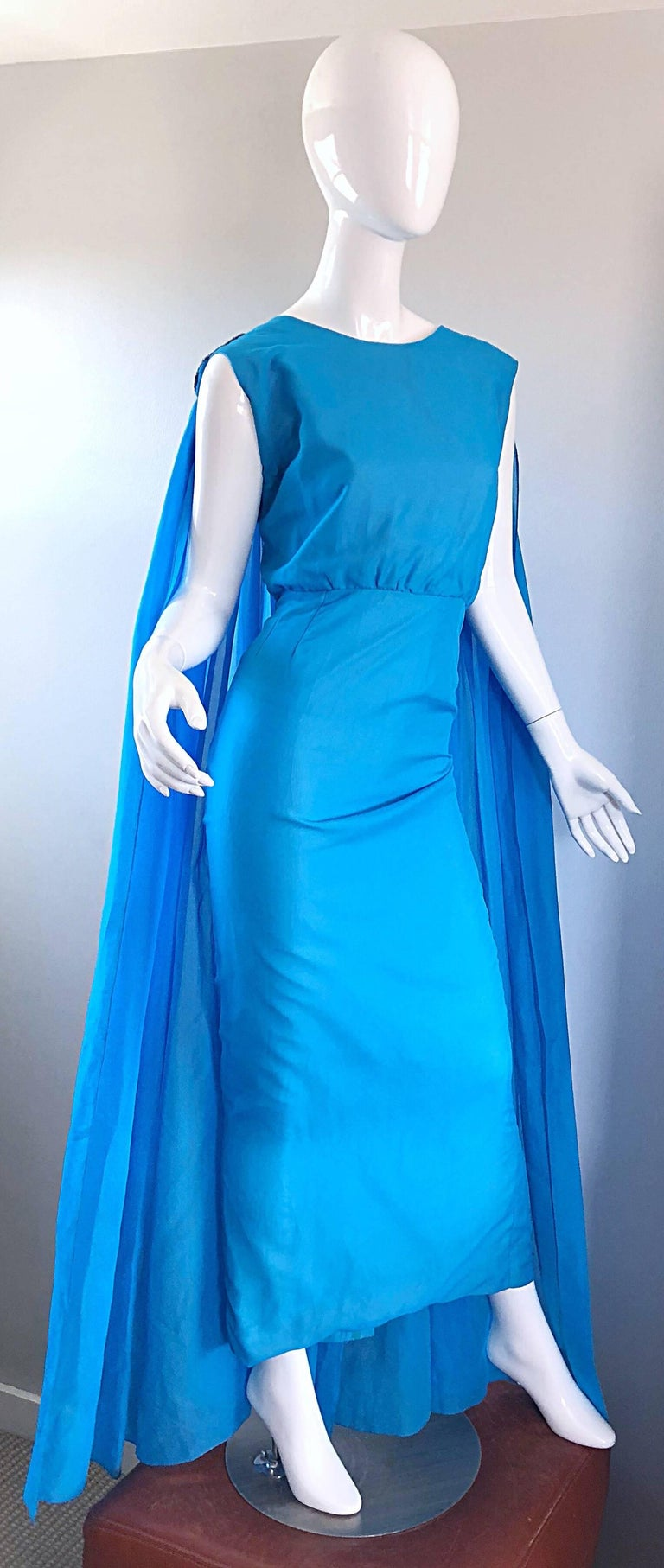 Incredible 1960s Turquoise Blue Chiffon Rhinestone Encrusted Vintage Cape Gown For Sale 5