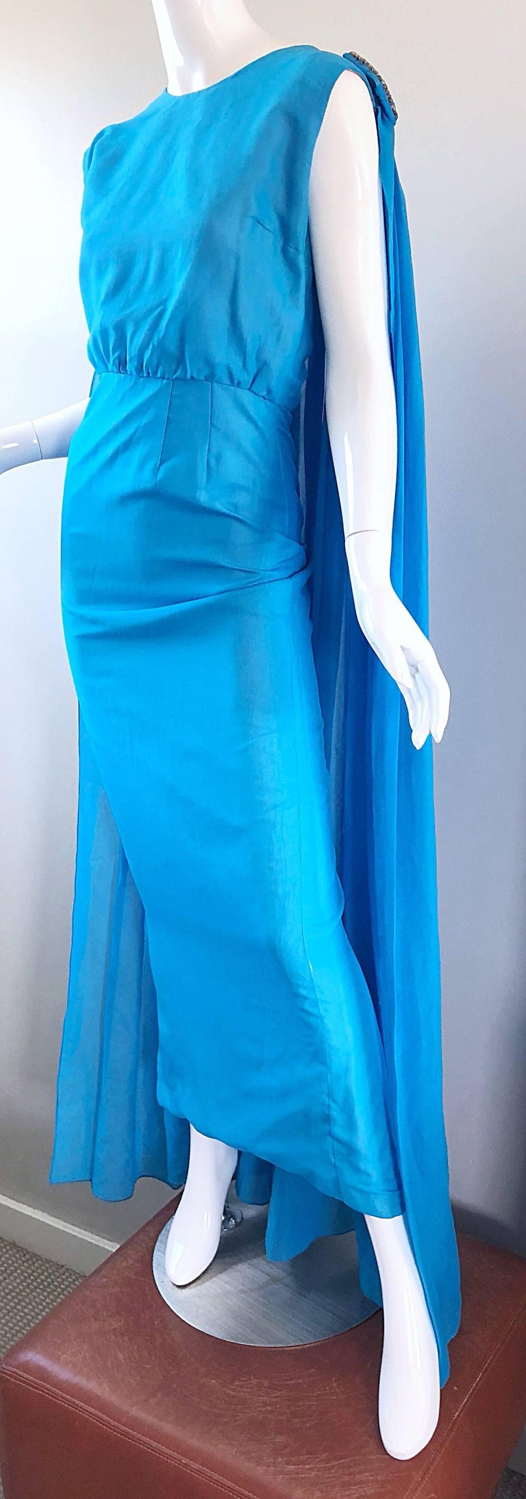 Incredible 1960s Turquoise Blue Chiffon Rhinestone Encrusted Vintage Cape Gown For Sale 6