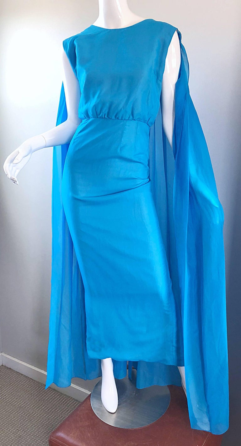 Incredible 1960s Turquoise Blue Chiffon Rhinestone Encrusted Vintage Cape Gown For Sale 7