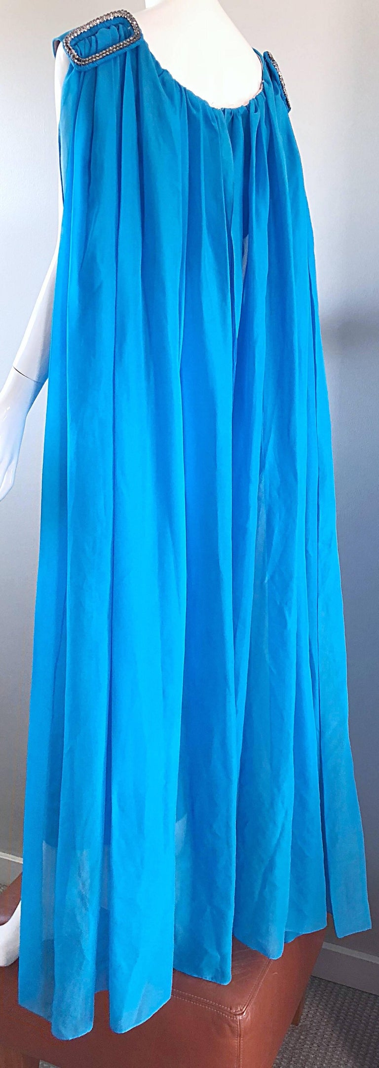 Incredible 1960s Turquoise Blue Chiffon Rhinestone Encrusted Vintage Cape Gown For Sale 8