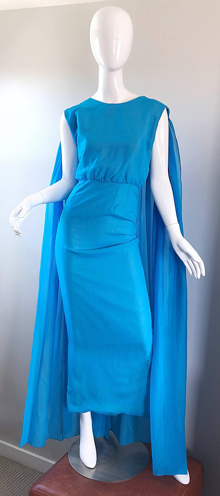 Incredible 1960s Turquoise Blue Chiffon Rhinestone Encrusted Vintage Cape Gown For Sale 9