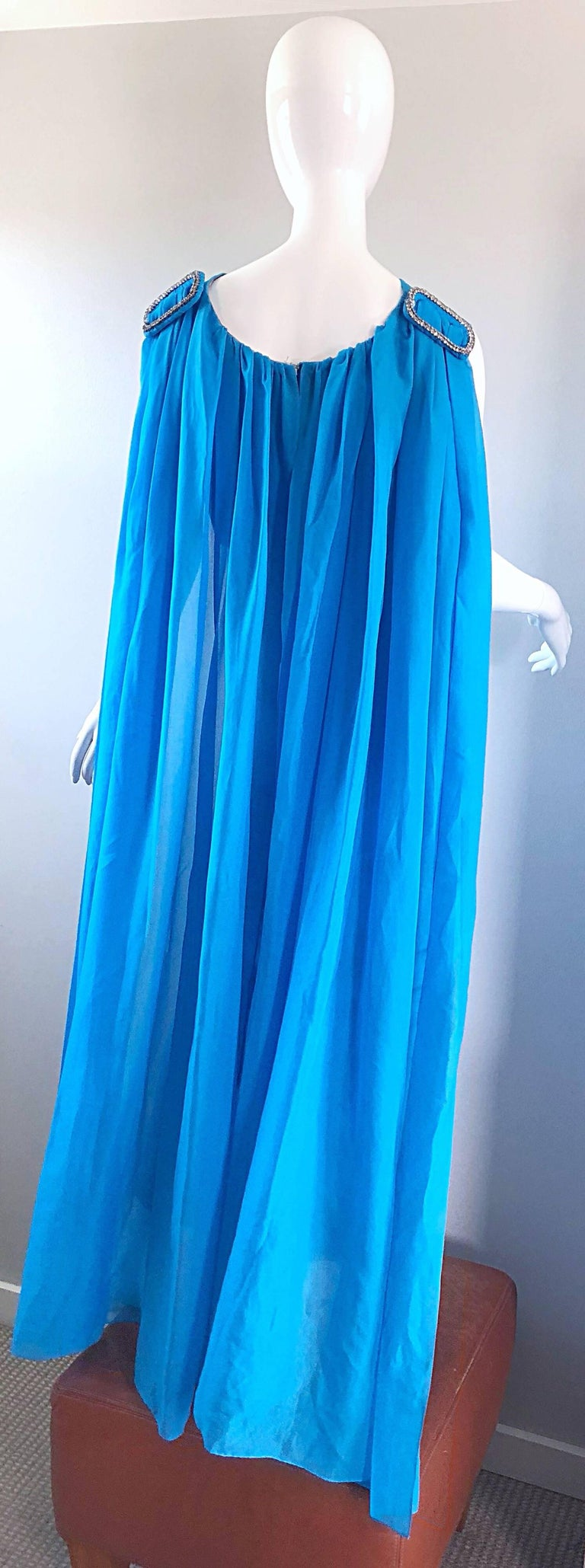 Incredible 1960s Turquoise Blue Chiffon Rhinestone Encrusted Vintage Cape Gown For Sale 10