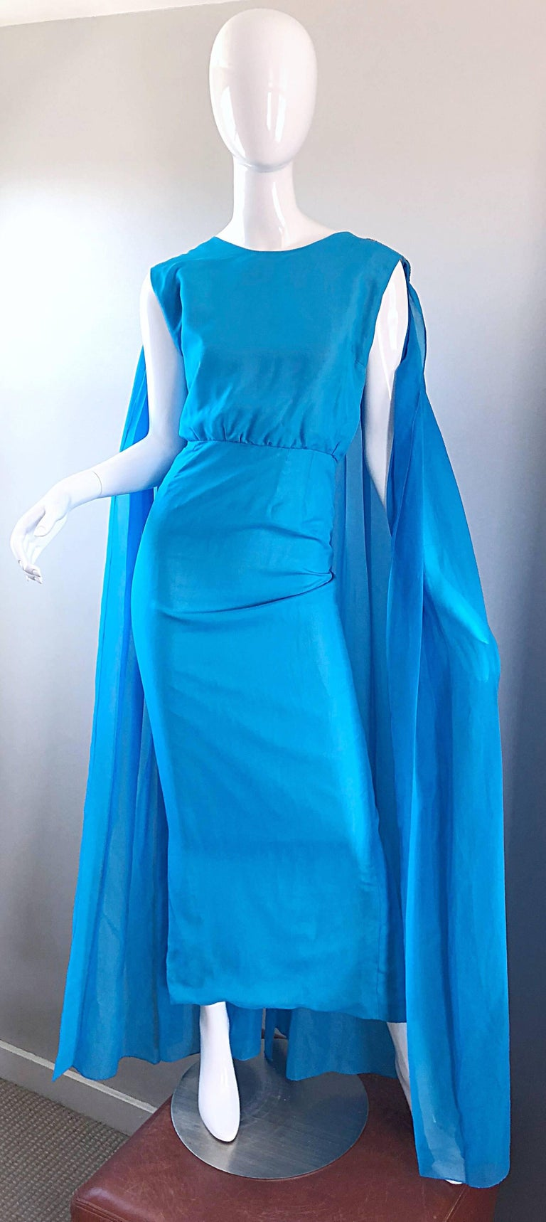 Incredible 1960s Turquoise Blue Chiffon Rhinestone Encrusted Vintage Cape Gown For Sale 11