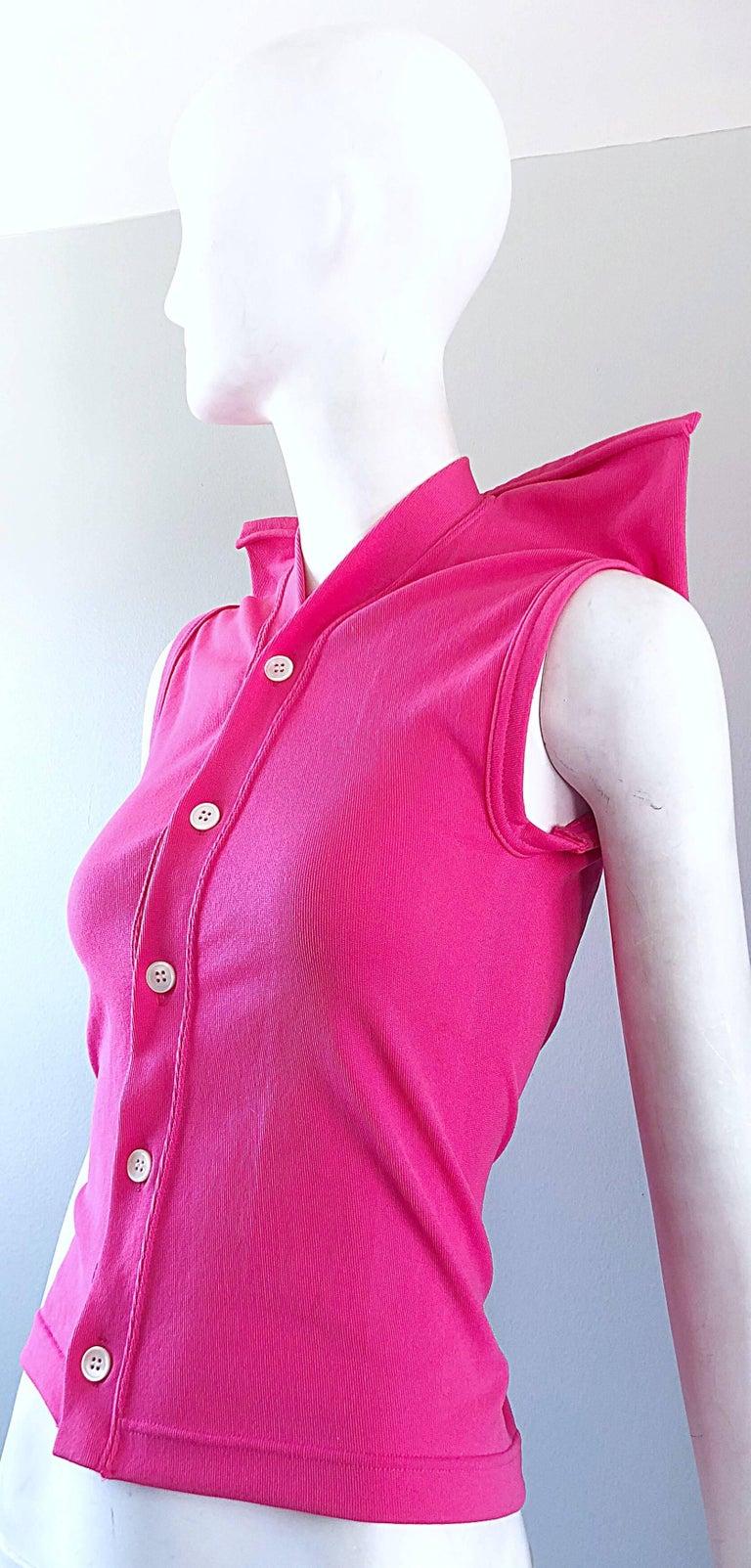 Women's Rare Vintage Comme des Garcons 1990s Hot Pink Avant Garde Futuristic Top Blouse  For Sale