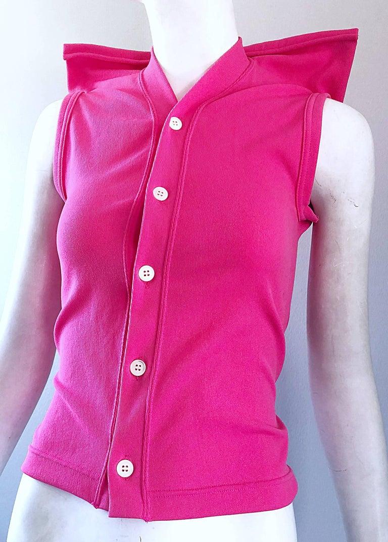Rare Vintage Comme des Garcons 1990s Hot Pink Avant Garde Futuristic Top Blouse  For Sale 3