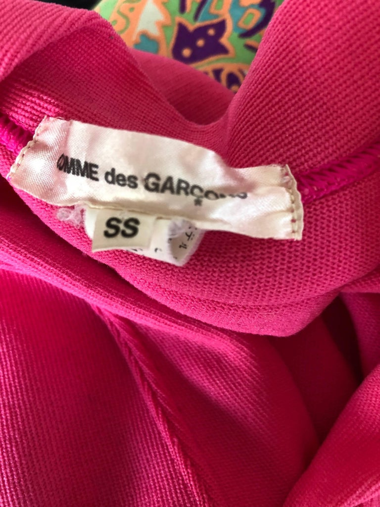 Rare Vintage Comme des Garcons 1990s Hot Pink Avant Garde Futuristic Top Blouse  For Sale 9