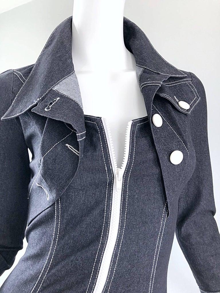 Black Vintage Angelo Tarlazzi 1990s Denim Bodycon Faux Bolero 90s Blue Jean Dress For Sale