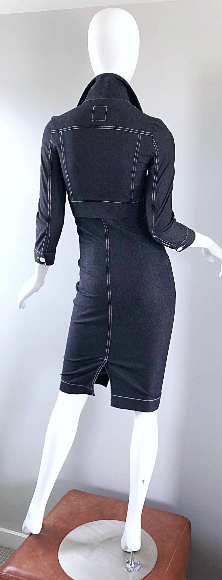 Vintage Angelo Tarlazzi 1990s Denim Bodycon Faux Bolero 90s Blue Jean Dress In Excellent Condition For Sale In Chicago, IL