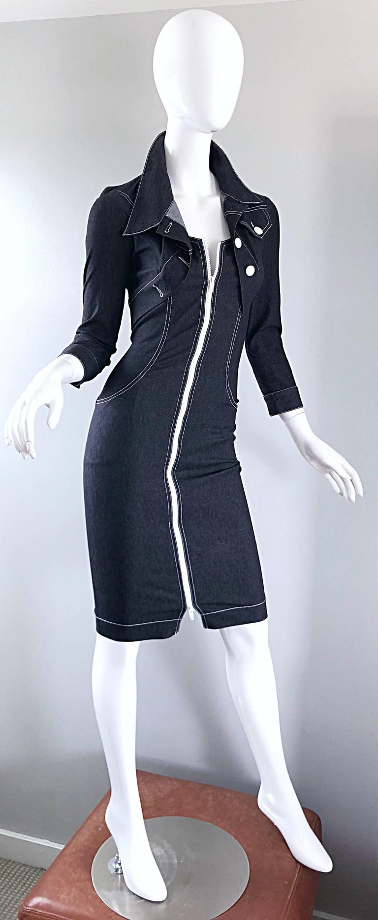 Vintage Angelo Tarlazzi 1990s Denim Bodycon Faux Bolero 90s Blue Jean Dress For Sale 1