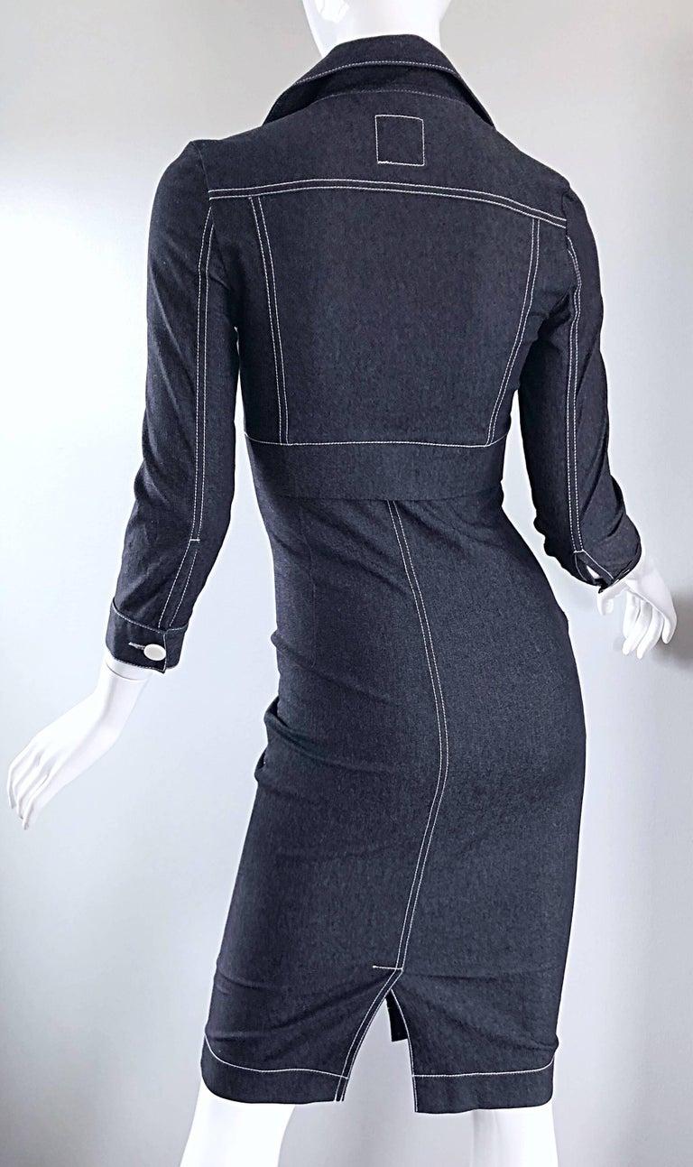 Vintage Angelo Tarlazzi 1990s Denim Bodycon Faux Bolero 90s Blue Jean Dress For Sale 2